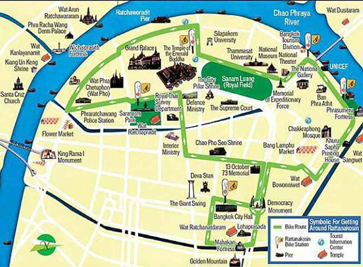 Bicycle map of Rattanakosin in Bangkok