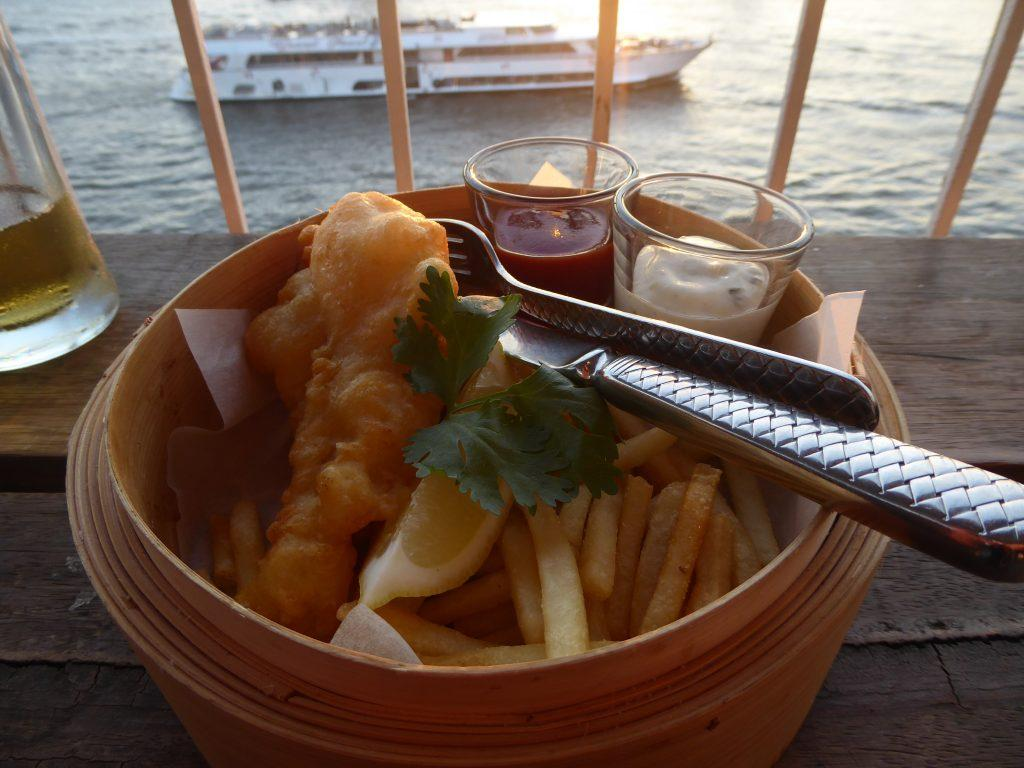 Fish and Chips at The Roof Bar at Sala Rattanakosin in Bangkok