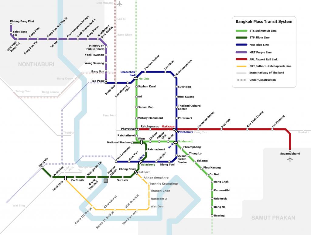 Transit System Map of Bangkok