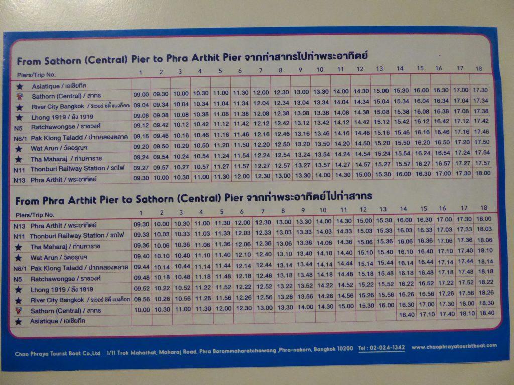 Tourist Boat Bangkok Timetable