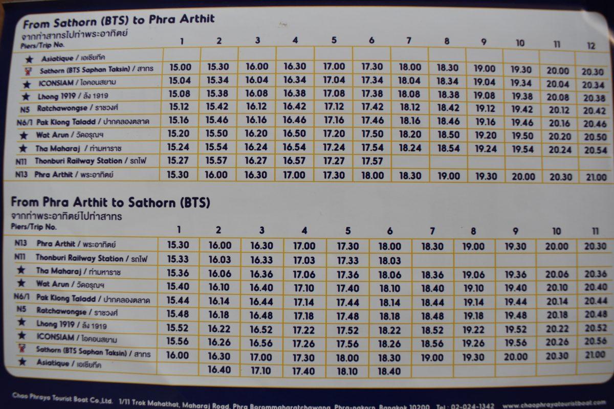 Chao Phraya Tourist Boat Bangkok Timetable