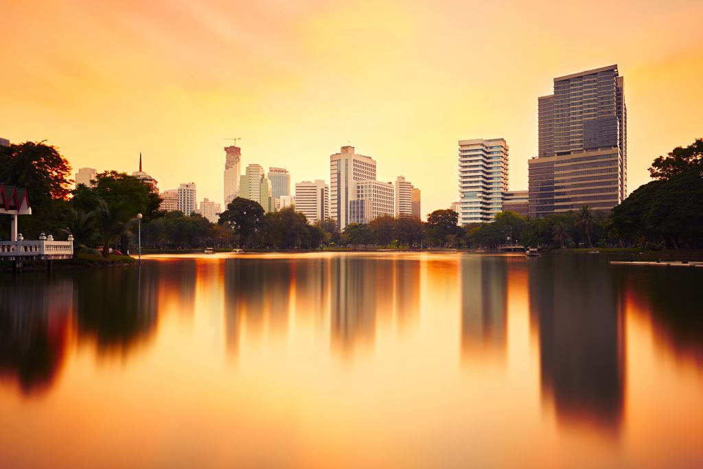 Lumphini Park in Bangkok at sunset