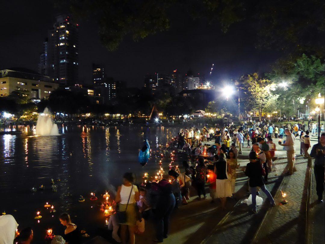 Loy Krathong at Benjasiri Park in Bangkok